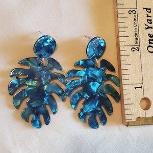 Teal blue Palm Leaf Acrylic resin Earrings